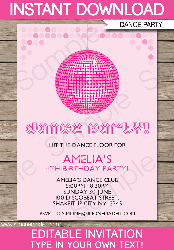Dance Party Invitations Template | Birthday Party