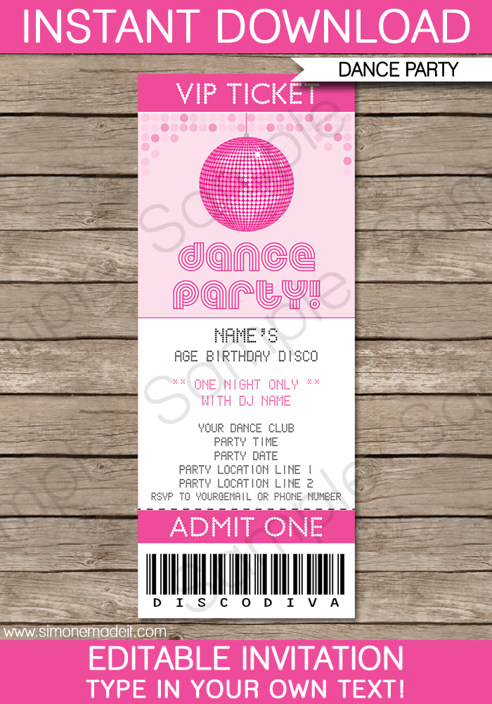 Awesome Dance Party Ticket Invitations Template U2013 Pink And Party Ticket Template