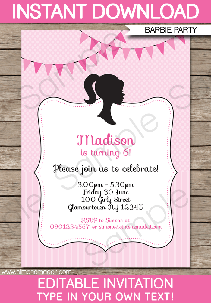Printable Party Invitations | Editable Templates | Birthday Party