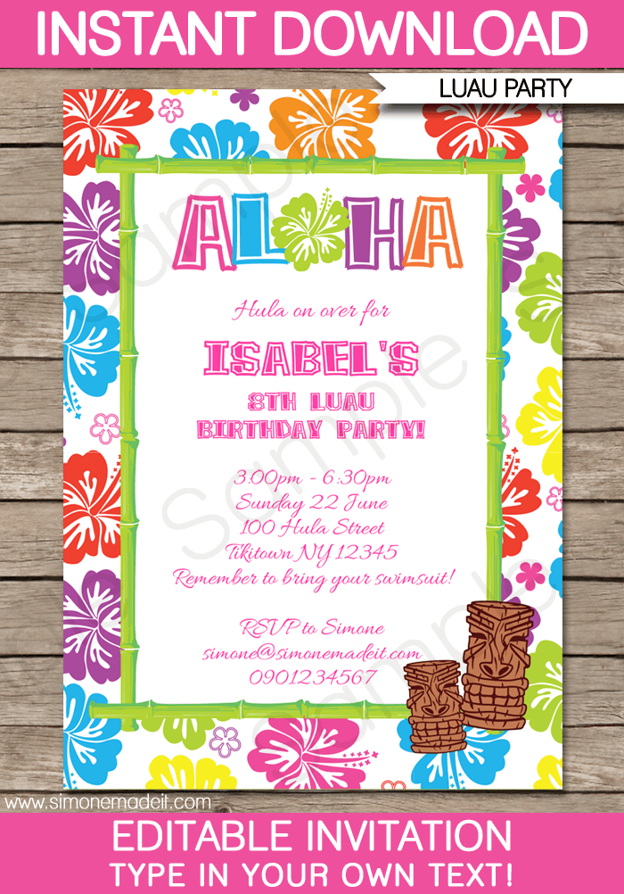 Luau party invitations template luau invitations luau party invitations birthday party editable diy theme template instant download 750 via filmwisefo Images