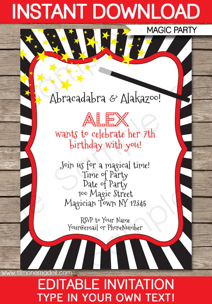 Magic Party Invitations | Birthday Party | Editable DIY Theme Template | INSTANT DOWNLOAD $7.50 via SIMONEmadeit.com