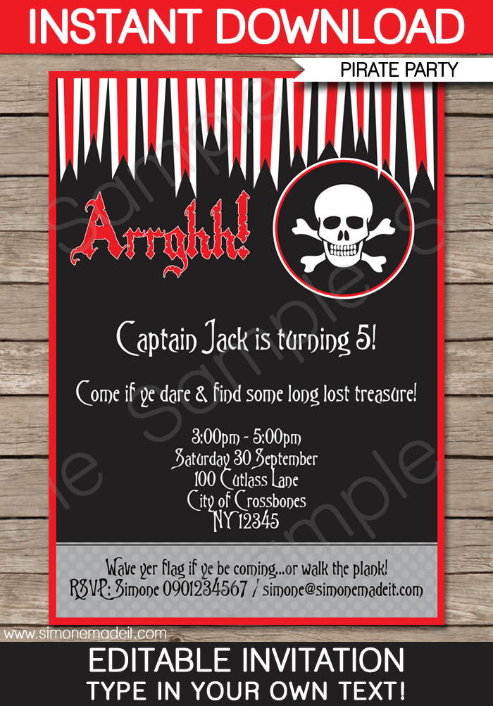 Pirate Party Invitations | Birthday Party | Editable DIY Theme Template | INSTANT DOWNLOAD $7.50 via SIMONEmadeit.com