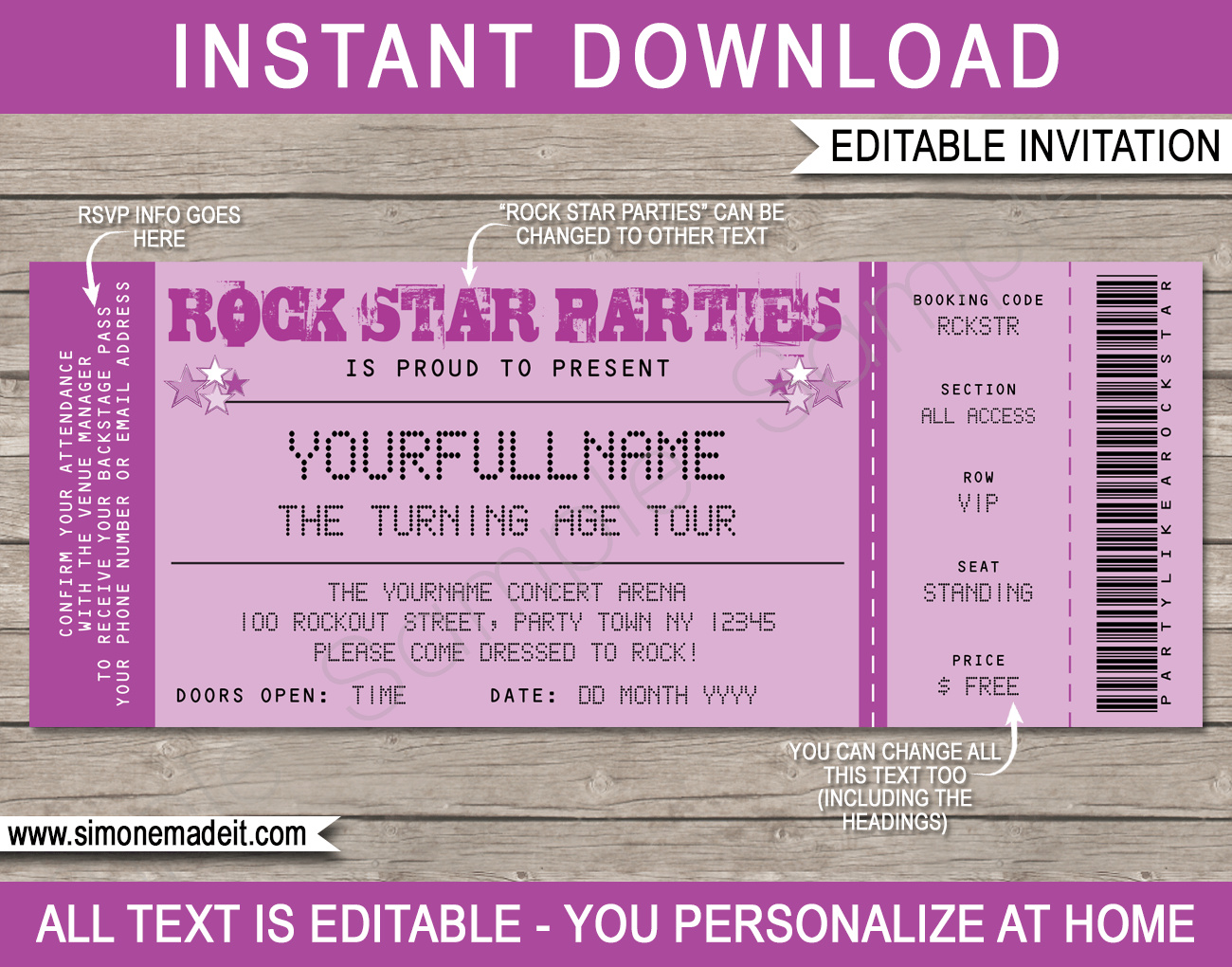 Rock star party ticket invitations template purple for Ticket invitation template free