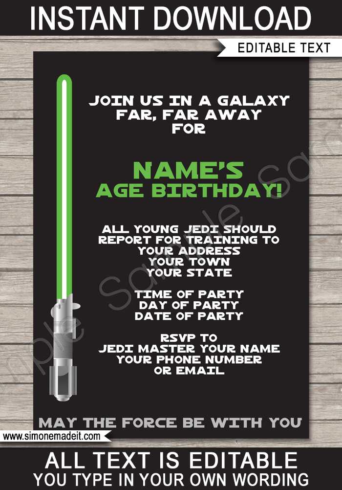 star wars party invitations lightsaber choice of green red blue birthday
