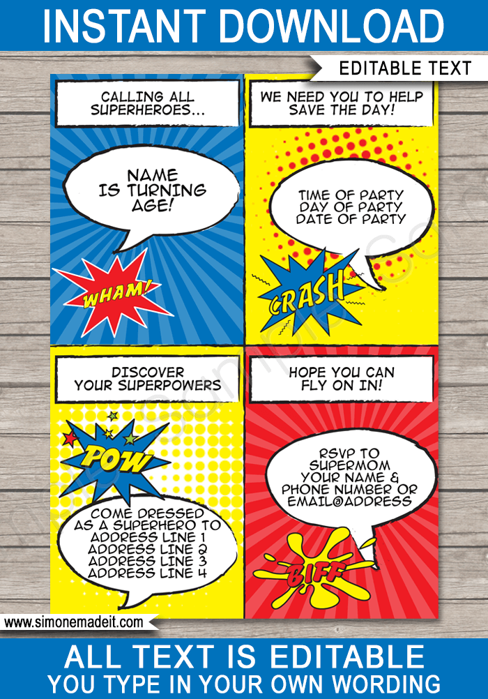 Superhero Party Invitations | Superhero Birthday Party