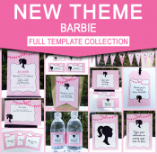 Barbie Birthday Party Printables - Editable Templates