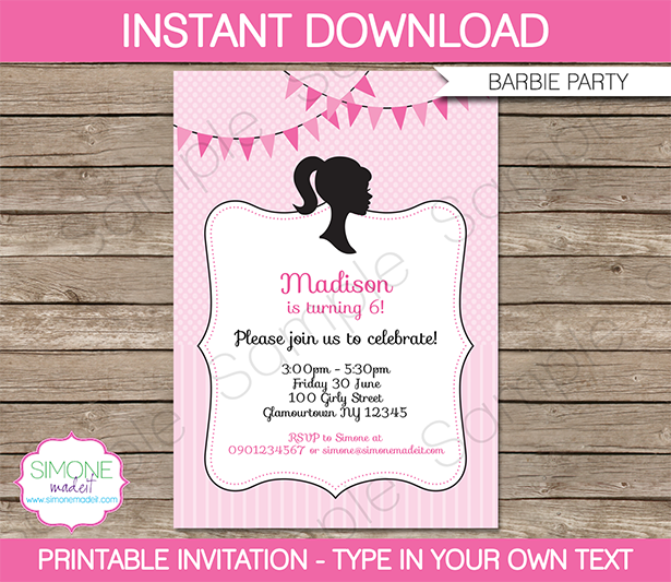 Barbie party theme printables invitations barbie birthday party invitations stopboris