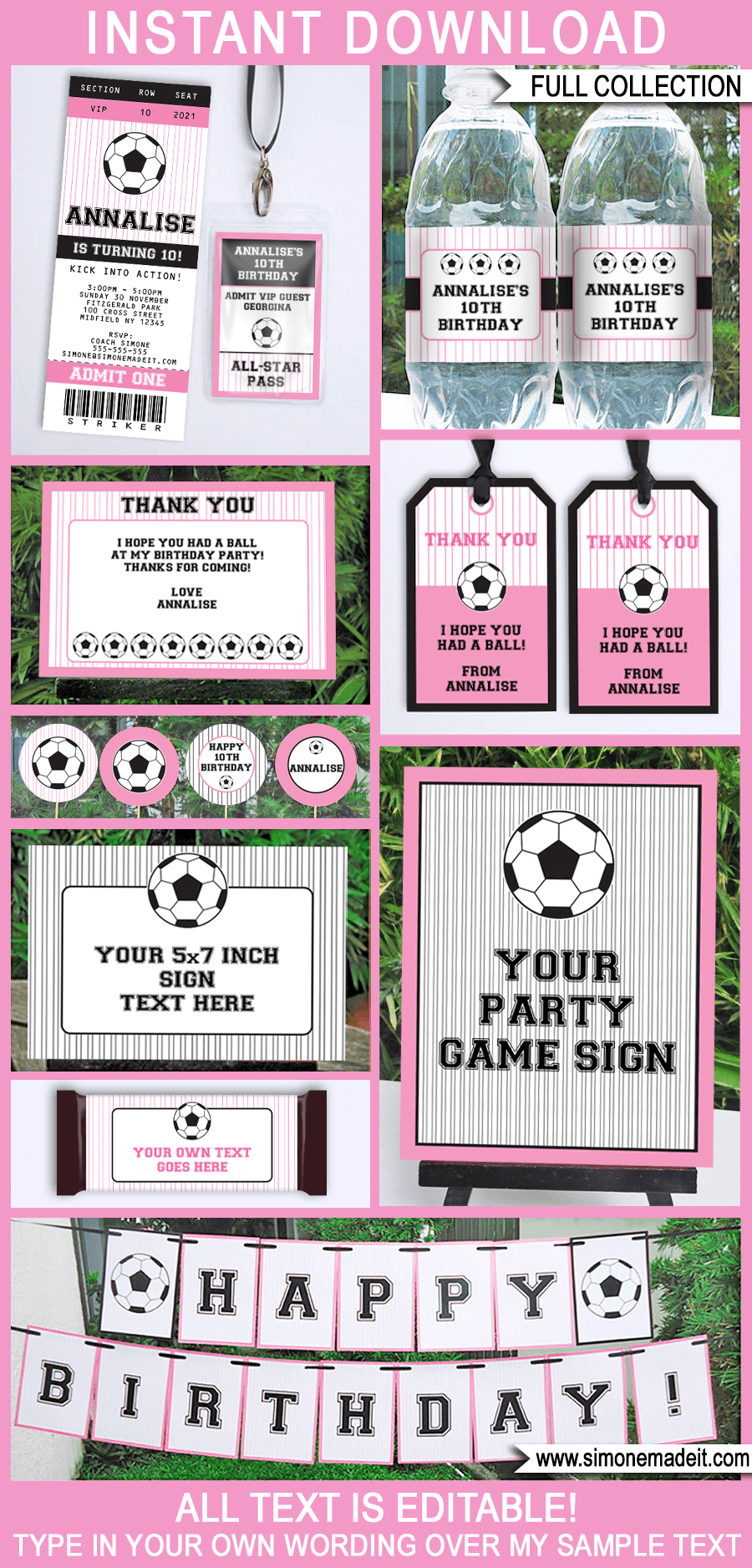 Girls Soccer Party Printables, Invitations & Decorations