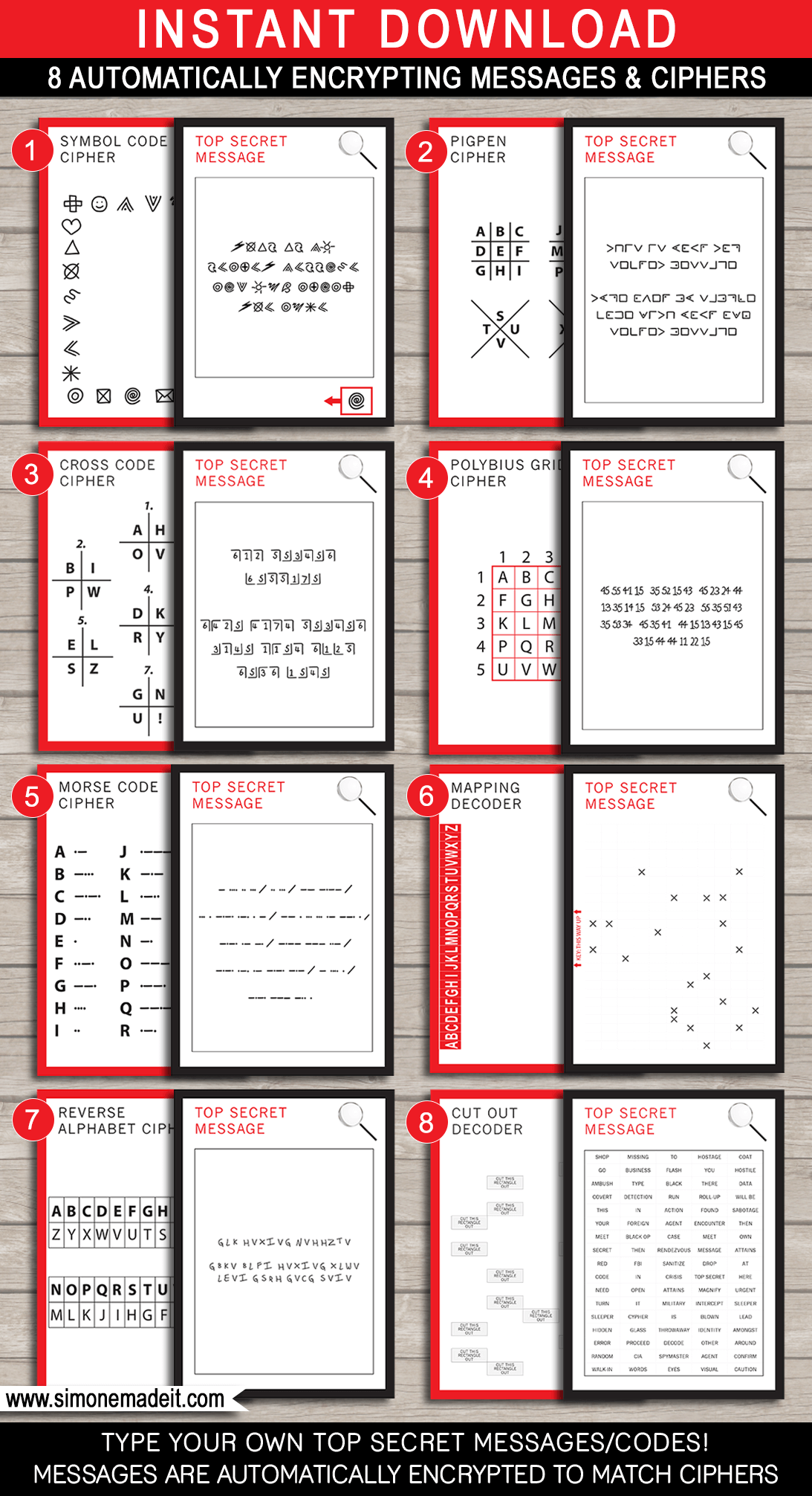 Spy Party Games - 8 Printable Secret Codes & Ciphers | Editable DIY Template | Secret Codes for kids | via SIMONEmadeit.com