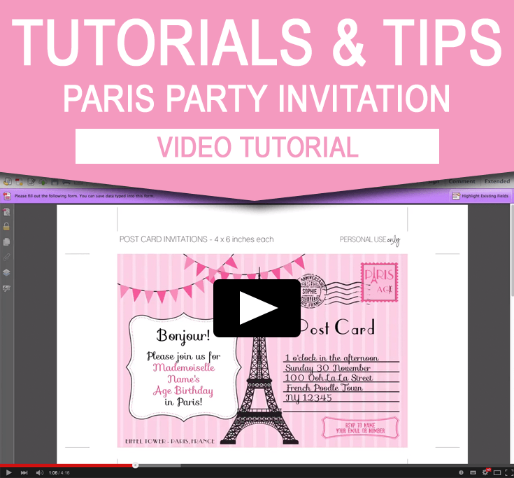How To Edit My Paris Invitation Template Video Tutorial