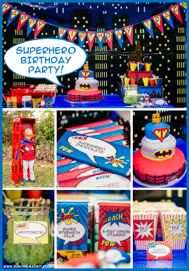 This gorgeous, brightly-colored #Superhero Birthday Party sure packs a powerful punch! Featuring SIMONEmadeit Party Printables! https://www.simonemadeit.com/superhero-birthday-party/