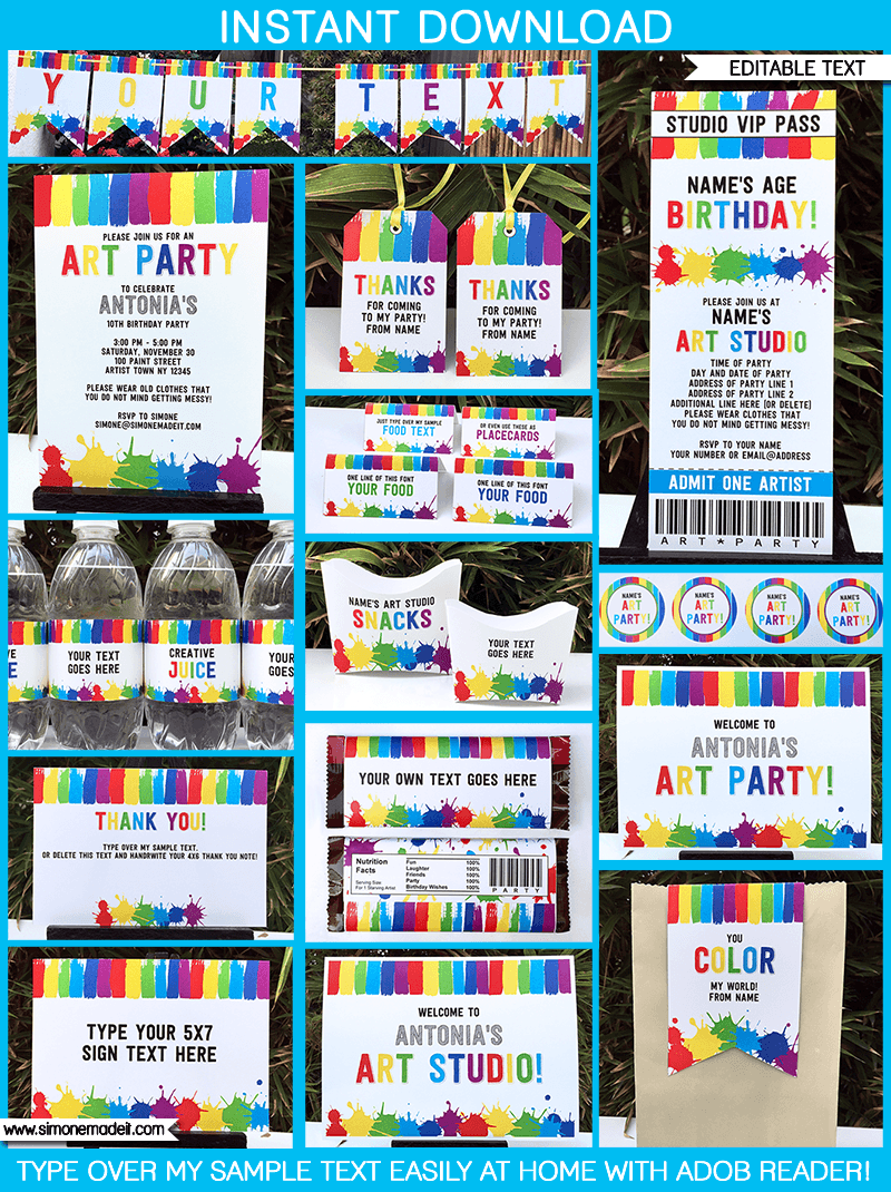 Art Birthday Party Theme Printables
