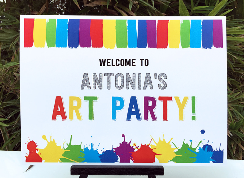 Art Birthday Party Theme Welcome Sign | Paint Party | DIY Editable Template