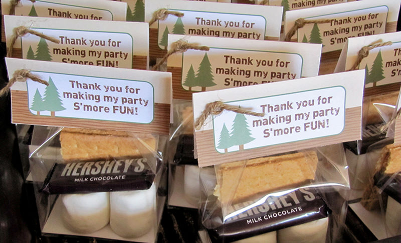 Camping Birthday Party Favors Smores