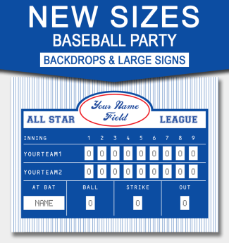 Baseball Party Backdrops and Signs – larger sizes