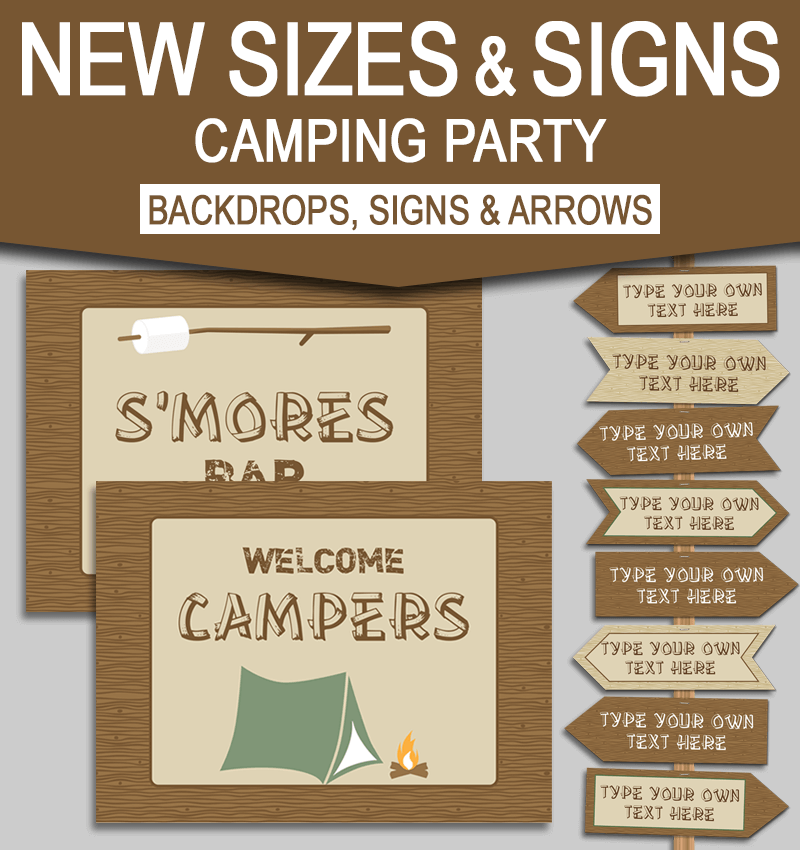 image regarding Free Printable Camping Signs known as Fresh new Major Printable Tenting Get together Symptoms and Backdrops