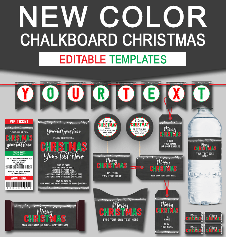 Printable Chalkboard Christmas Gift Tags, Invitations, Decorations & Printables | Editable Templates | Instant Download via simonemadeit.com