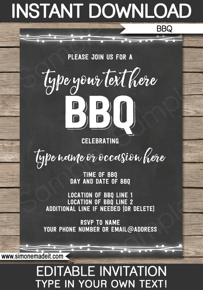 chalkboard bbq invitations template