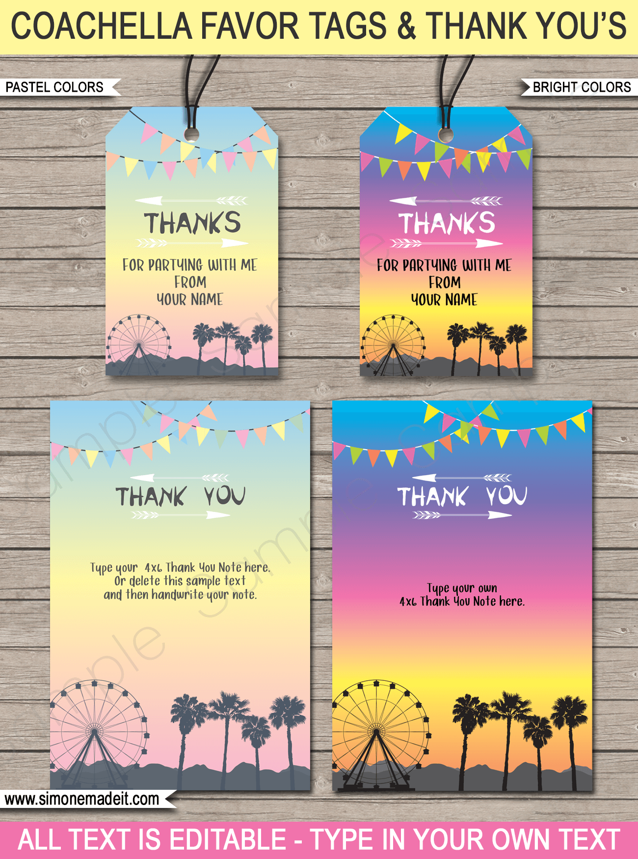 Coachella Birthday Party Favor Tags & Thank You Notes | Editable & Printable Templates | Coachella Themed | Coachella Inspired | Music Festival