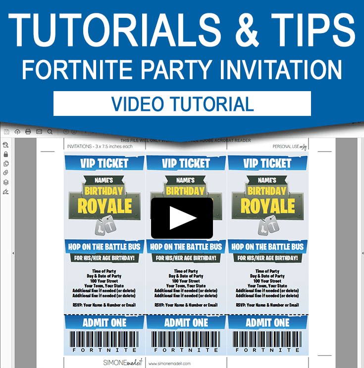 How to personalize my Fortite Birthday Party Invitations at home using Adobe Reader.