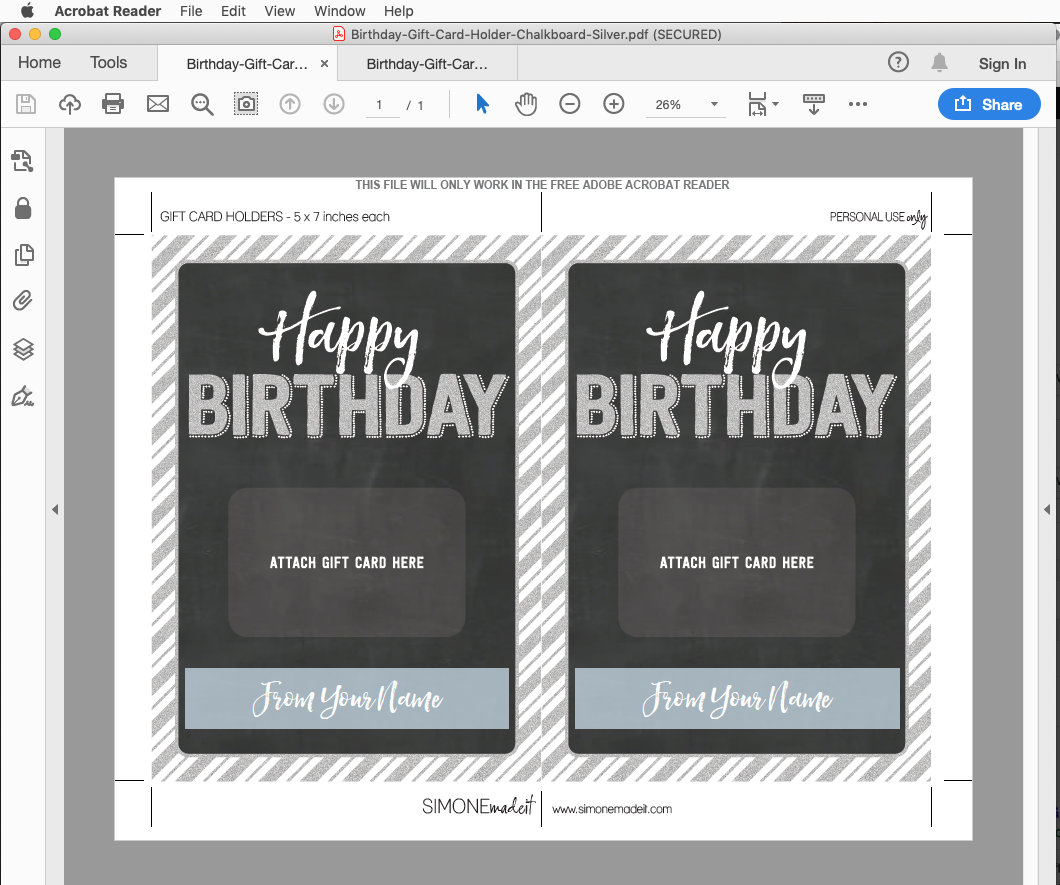 Birthday Store Gift Card Holder