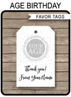 Silver Favor Tags - Any Age - Printable Template