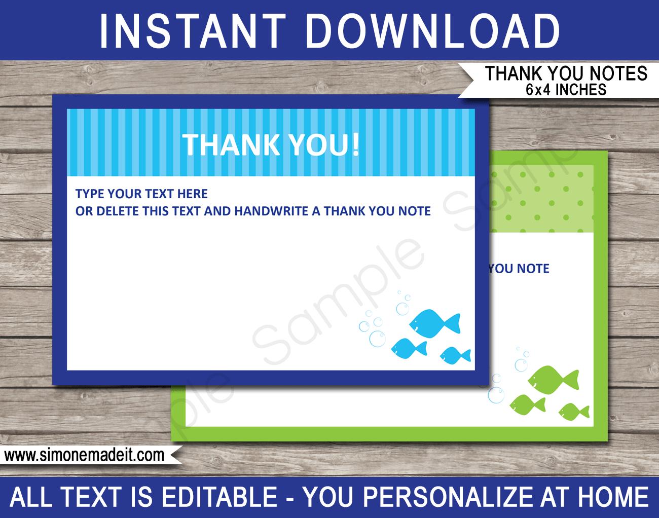 Printable Under The Sea Party Thank You Note Cards - DIY Editable Template - via SIMONEmadeit.com