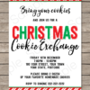 Printable Christmas Cookie Exchange 5x7 Invitation Template with Editable Text