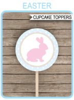 Printable Easter Cupcake Toppers Template | 2 inch | Easter Party | Gift Tags | DIY Editable Text | INSTANT DOWNLOAD via simonemadeit.com