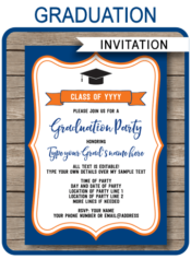 Editable & Printable Navy Blue & Orange Graduation Invitation Template