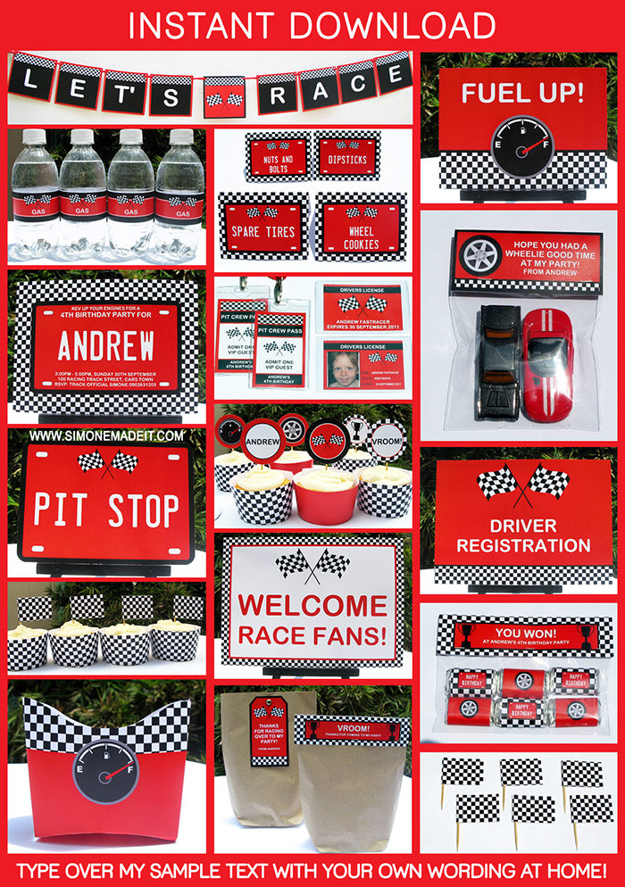 Cars Invitation Card Template Free: Race Car Birthday Party Printables
