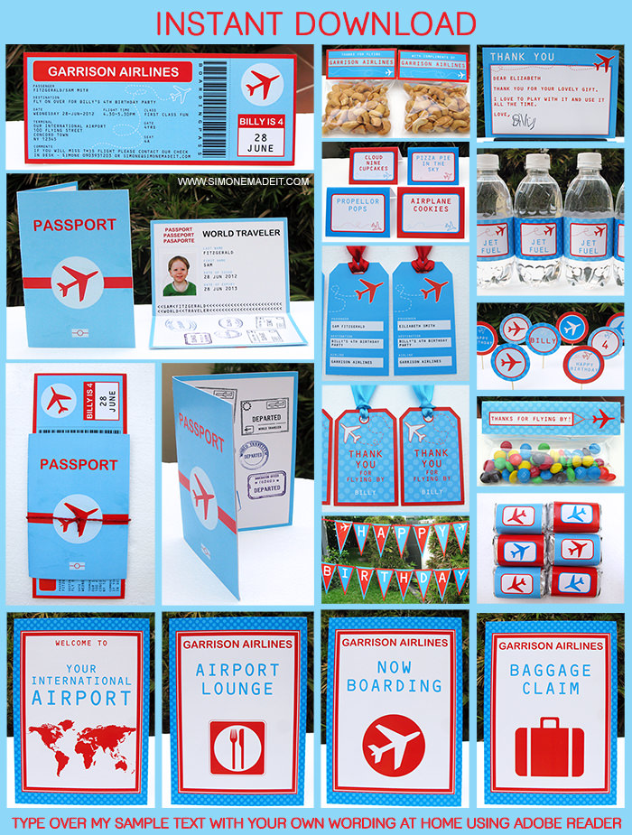 Airplane Printable Birthday Invitation and complete party collection