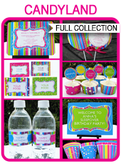 Printable Candyland Lollipop Party Templates