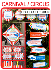 Carnival Party Printables, Invitations & Decorations – colorful
