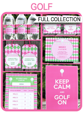 Golf Birthday Party Printables, Invitations & Decorations – pink & green