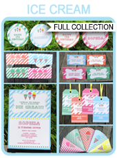 Ice Cream Party Printables, Invitations & Decorations