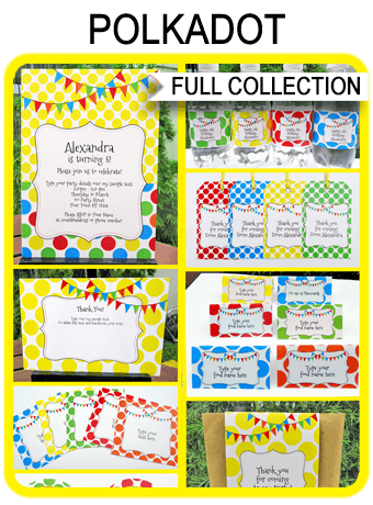 Polkadot Party Printables, Invitations & Decorations | Colorful Birthday Party | Editable Text Templates | INSTANT DOWNLOAD $12.50 via SIMONEmadeit.com