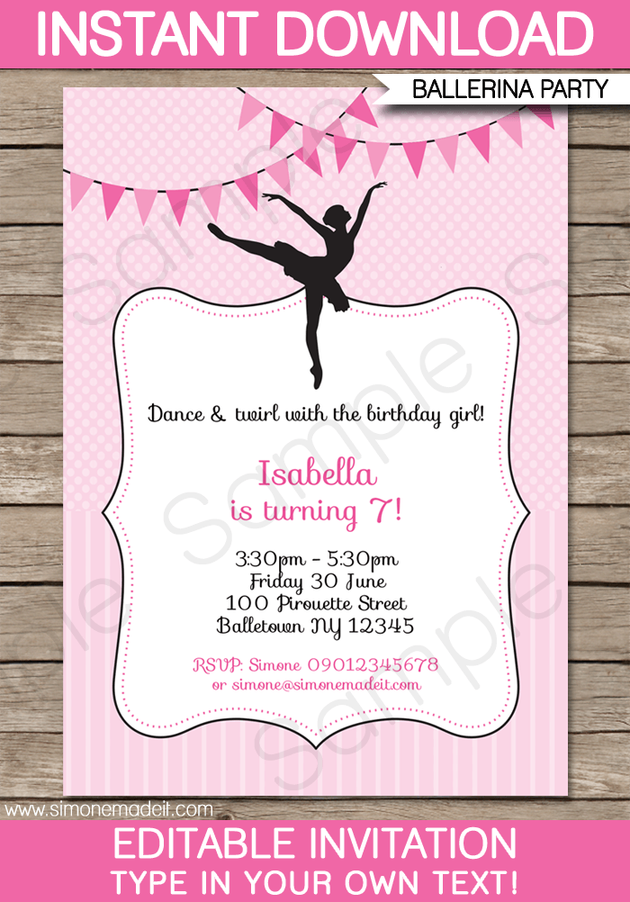 picture relating to Printable Party Invitations titled Ballerina Social gathering Invites Template