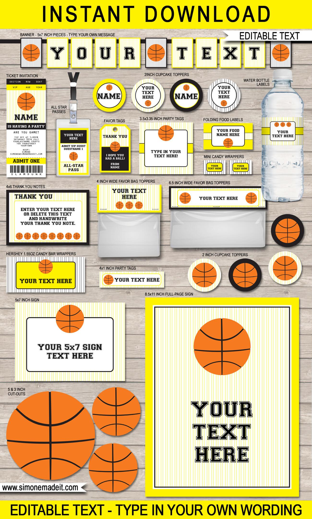 Black and Yellow Basketball Printables, Invitations & Decorations - DIY Editable Templates - INSTANT DOWNLOAD $12.50 via simonemadeit.com