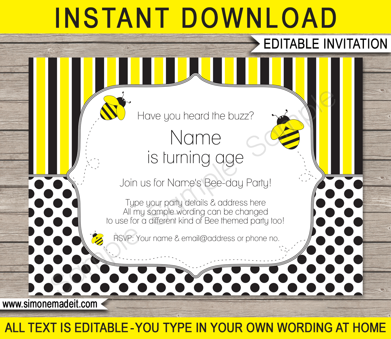 bee party invitations template birthday party