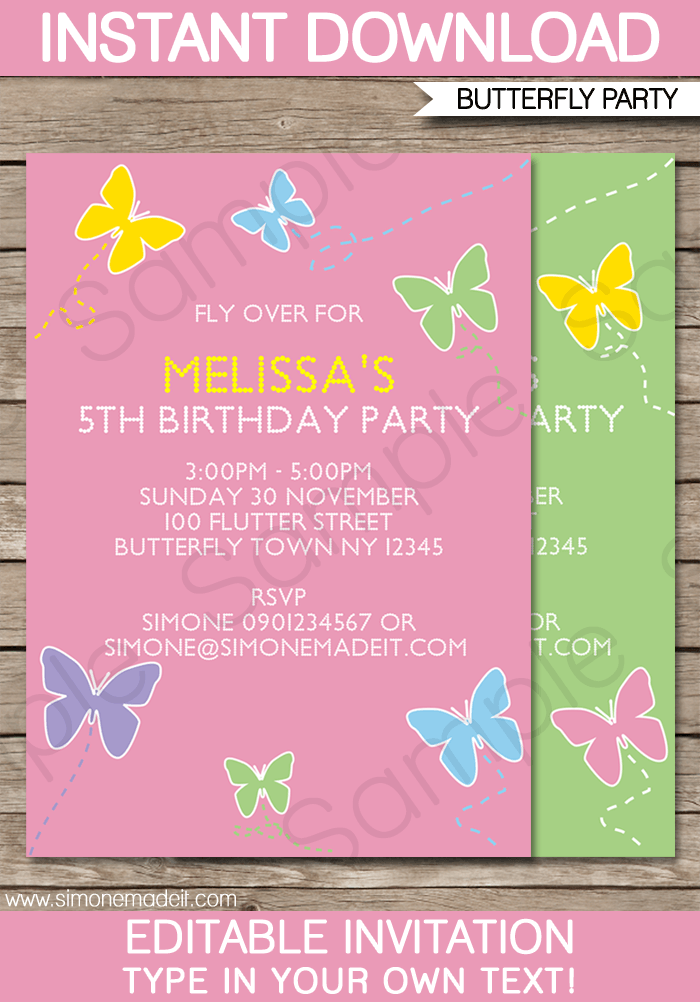 Butterfly Party Invitations Template | Birthday Party