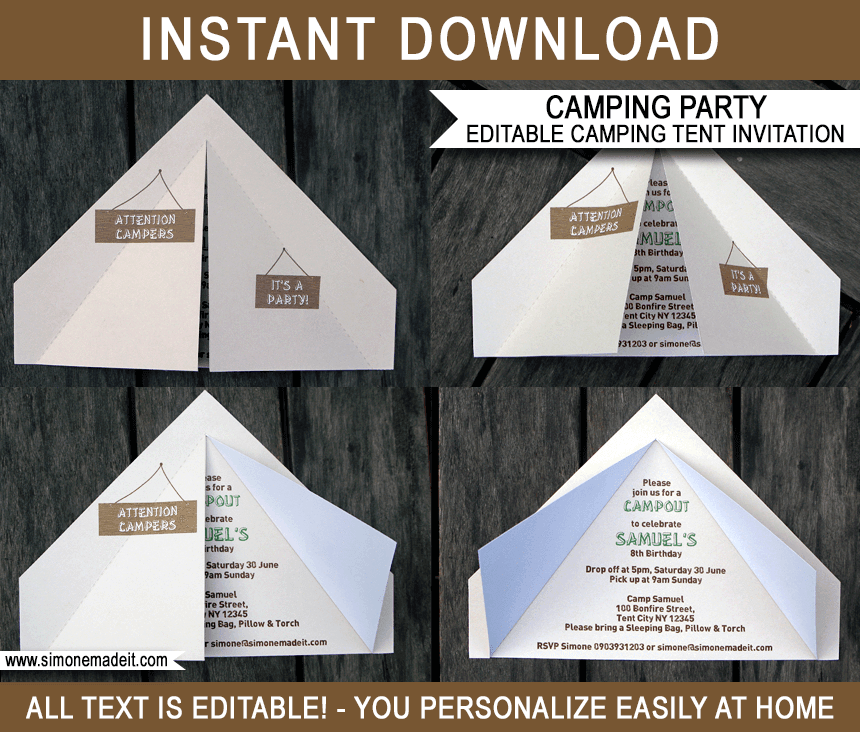 camping tent invitation template camping invitations