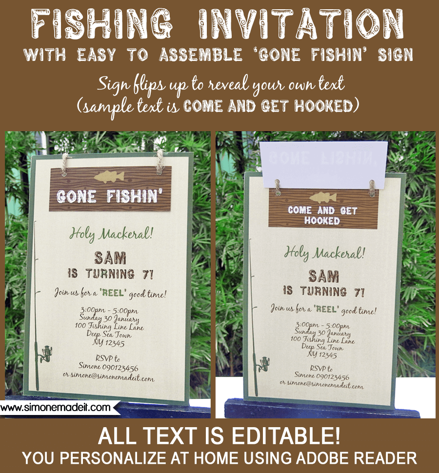 Fishing Party Invitations Gone Birthday Editable Diy Theme Template Instant