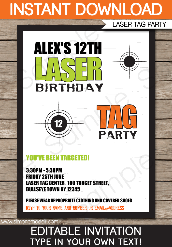 Laser tag invitation template laser tag invitations laser tag invitation template birthday party editable diy theme template instant download 750 stopboris Gallery