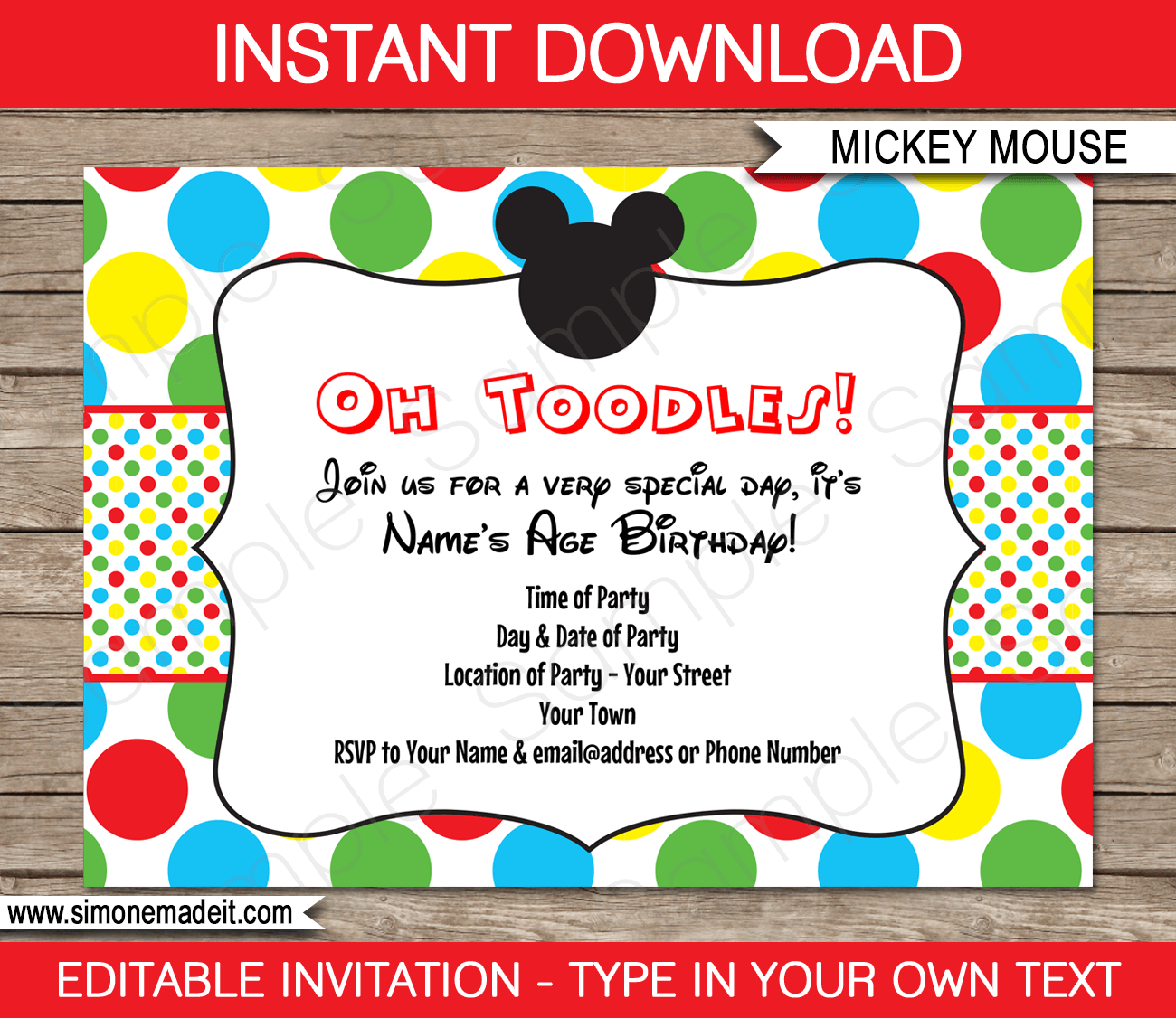 Mickey Mouse Party Invitations Birthday on volleyball template free