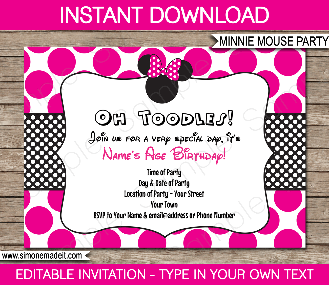 minnie mouse party invitations template | birthday party, Invitation templates