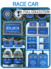 Printable Blue Race Car Party Templates