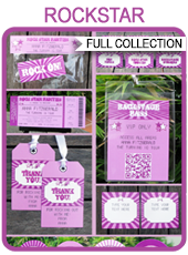 Printable Purple Rockstar Party Templates