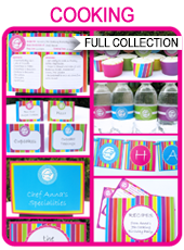 Cooking Party Printables, Invitations & Decorations – bright colors