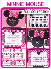 Minnie Mouse Party Printables, Invitations & Decorations – pink